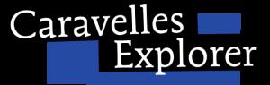 """Schriftzug """"Caravelles Explorer"""" auf blauem Hintergrund"""