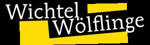 """Schriftzug """"Wichtel Wölflinge"""" auf gelbem Hintergrund"""